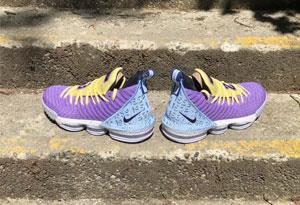 LBJ16湖人紫金配色开箱测评 湖人紫金配色球鞋图片大全