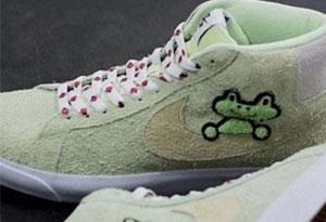 耐克SB Blazer联名滑板青蛙开箱实物细节赏析 Frog Skateboards x Nike SB Blazer上脚图